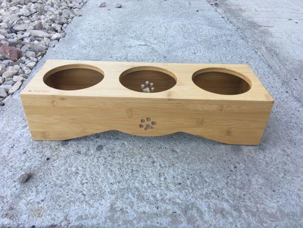 drewniany stojak na miski dla psa NAVARIS