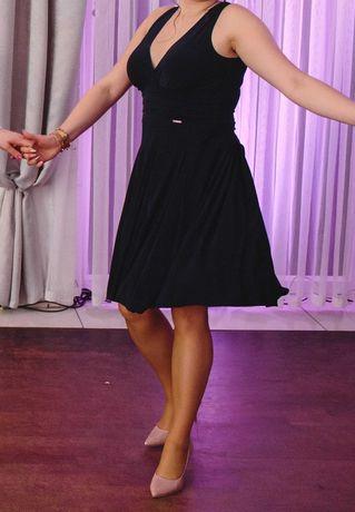 Elegancka granatowa rozkloszowana sukienka XL Numoco
