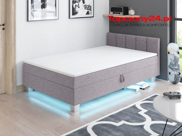 Łóżko jednoosobowe Młodzieżowy tapczan tapicerowany Led pojwmnik grati