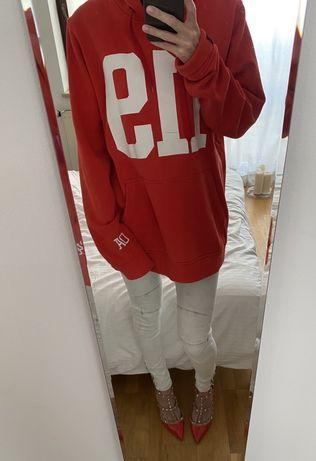 Czerwona bluza z kapturem oversized Ozoshi 119 rozmiar XL