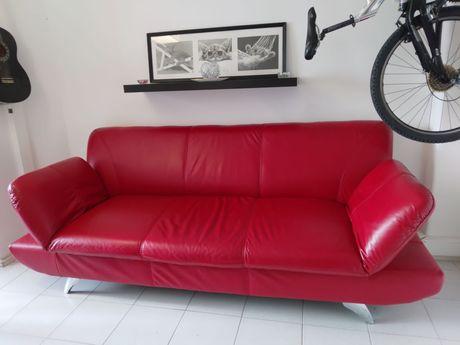 Sofá em pele vermelho 3 lugares expansível para 5 com braço reclinável