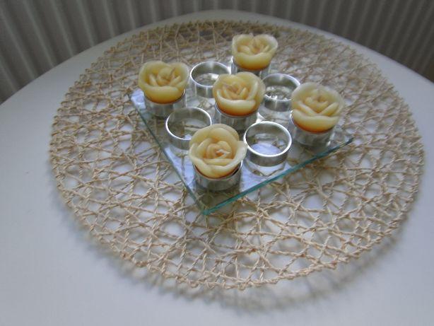 Niepowtarzalny świecznik 9 świeczek hartowane szkło