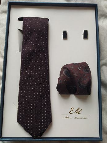 Zestaw krawat+spinki do mankietów+chusteczka EM Men's Accessories