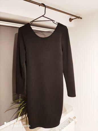 Czarna sukienka w prążek prążkowana M h&m obcisła seksowna ciążowa