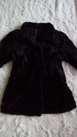 Eleganckie czarne futro duzy rozmiar 48 50 futerko damskie