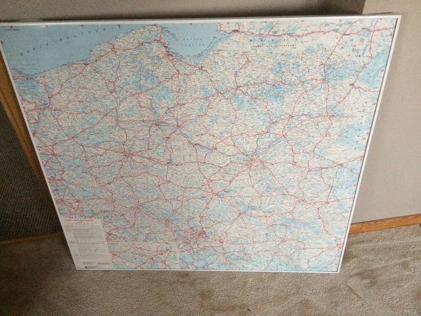 Polska mapa samochodowa białe aluminiowe ramki 85 x 95 cm