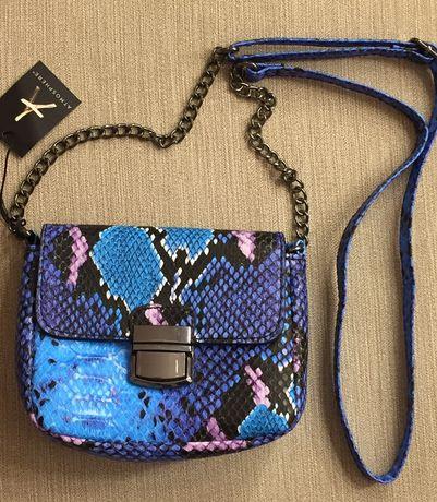 Продам синюю сумочку принт под рептилию