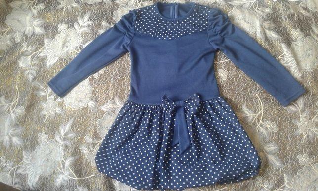 Детская одежда, тёмно- синее платье стильное для модницы на 3-4 года