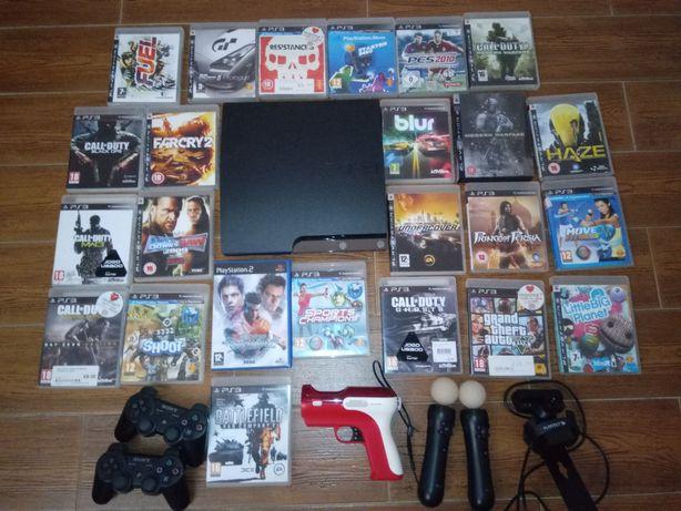 PS3 Slim 500g + 2 Comandos + câmara+ 2 Comandos move