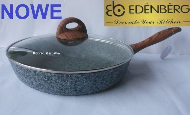 EDENBERG Patelnia GRANITOWA Kamienna 24 cm na kuchenkę INDUKCYJNĄ,Gaz.