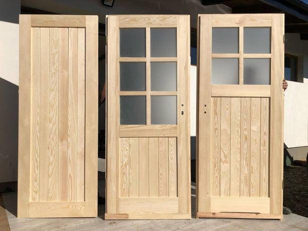 Drzwi rustykalne LITE drewniane wiejskie sosnowe z oscieżnicą