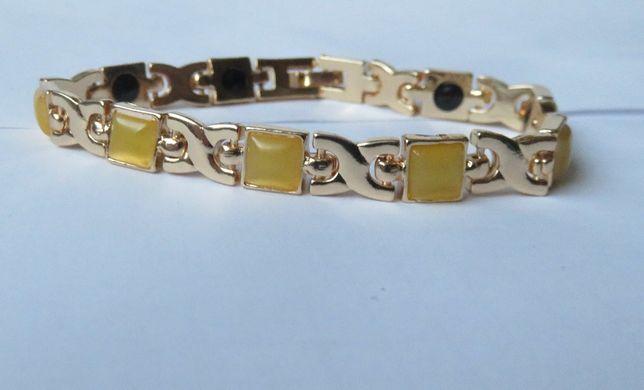 Bransoleta bransoletka magnetyczna żółte kamienie