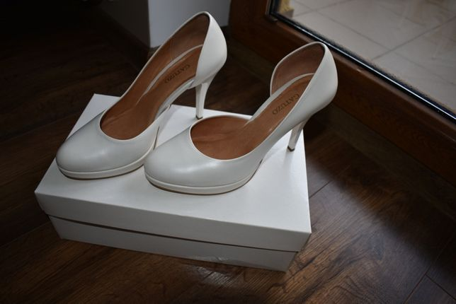 Buty ślubne szpilki skóra GATUZO r.37 białe, ecru, kość słoniowa. NOWE