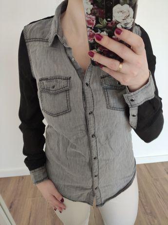 Koszula jeansowa bluzka czarny szary grafitowy rozmiar S
