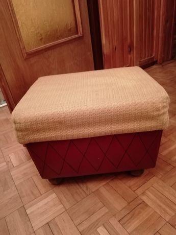 Pufa bordowo-musztardowa