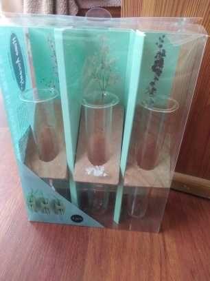 3 x wazon probówka flakon nowy szklany boho vintage