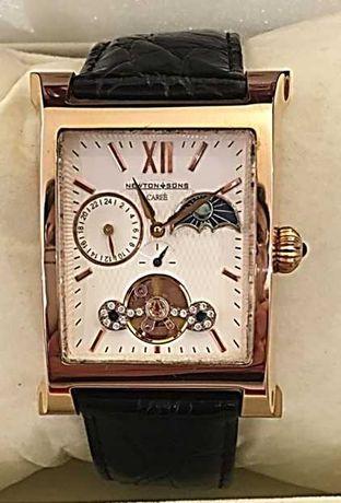 Newton & Sons relógio automático plaqué ouro mutlfunções