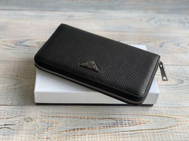 Мужской кожаный кошелек клатч барсетка Prada Прада