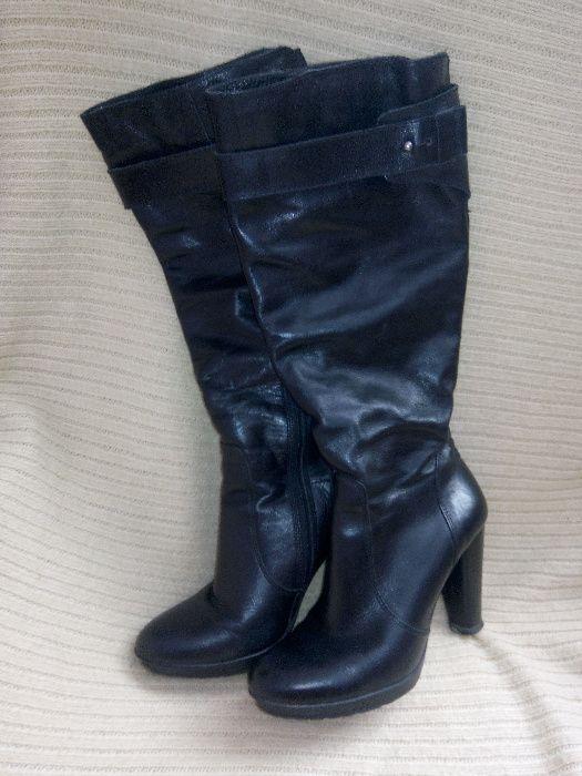 Сапоги демисезонные, сапоги кожаные, сапоги черные, сапоги на каблуку Хмельницкий - изображение 1