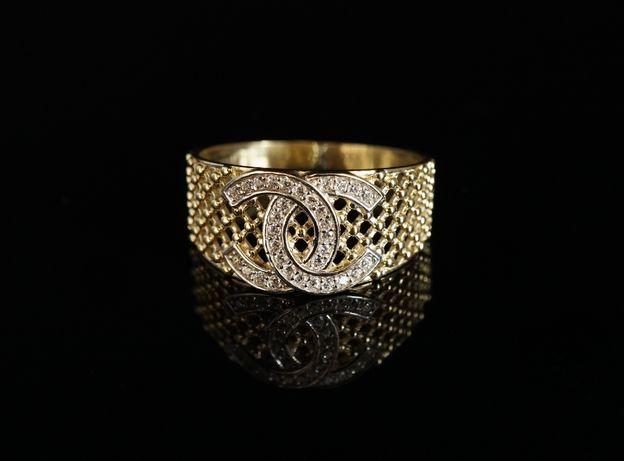 Złoto 585 - złoty pierścionek z cyrkoniami