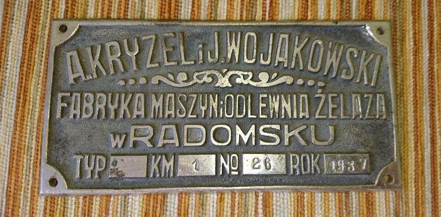 Stara tabliczka 1937 Fabryka maszyn i odlewnia żelaza w Radomsku