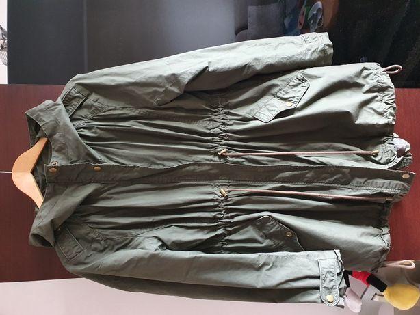 Kurtka parka H&M L khaki zielony plaszcz