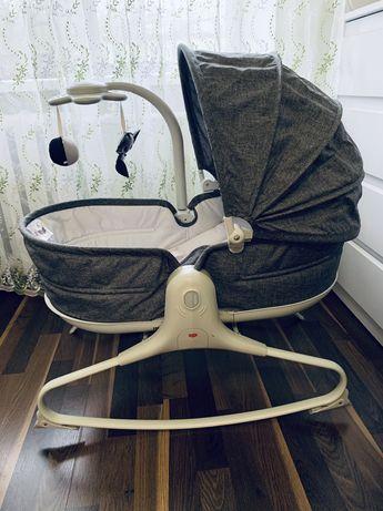 Кресло-кроватка-качалка Tiny Love 3в1 Мамины объятия серое с капюшоном