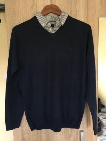 Sweter męski dekolt V koszula pierre cardin oryginalny hit jesień zima