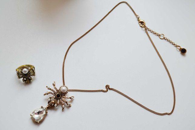 Колье, ожерелье и кольцо паук с черепом  размер 17 Alexander McQueen