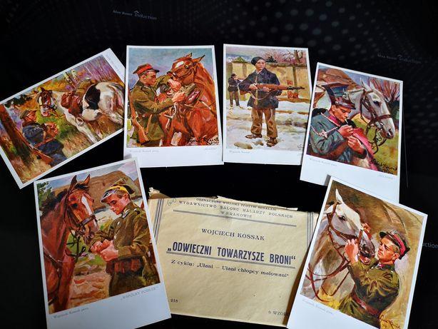 Kartki zestaw odwieczni towarzysze broni Kossak pamiątka PRL