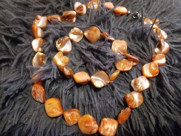 Naszyjnik i bransolka imitacja masy perłowej