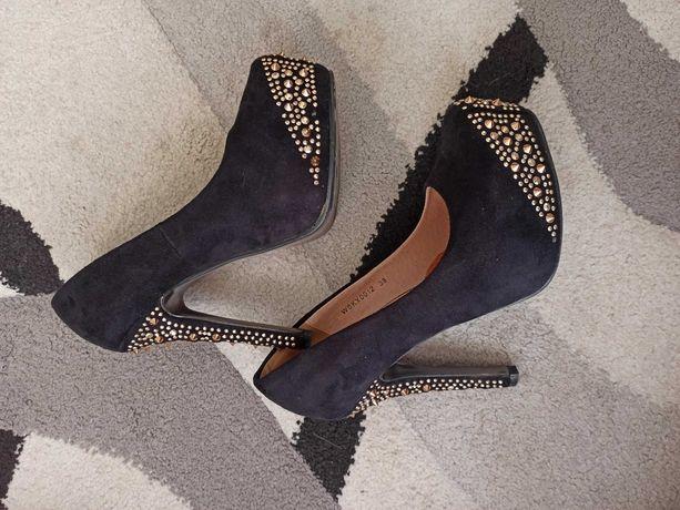 Buty szpilki czarne zamszowe cwieki r. 38 24,5 cm