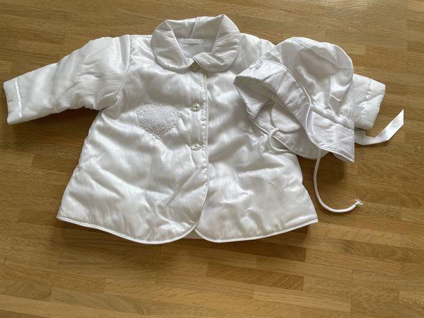 Komplet do chrztu dla dziewczynki kurtka płaszczyk