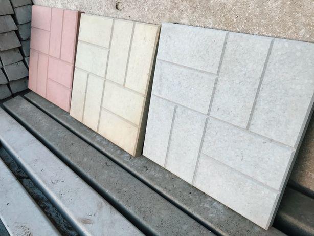 Тротуарная плитка, бордюр, столбик