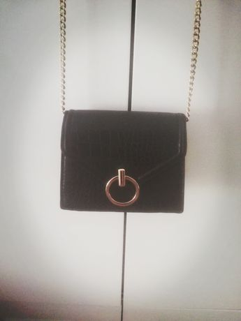 Mala torebka H&M łańcuszek zloty czarna