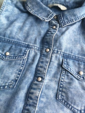 Damska, letnia, dżinsowa koszula r. M