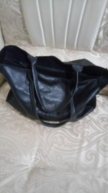 Кожаная замшевая сумка шоппер