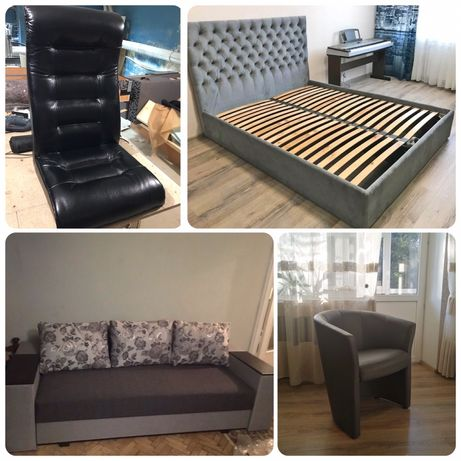 Перетяжка, оббивка, ремонт м'яких меблів: диван, ліжко, крісло та ін.