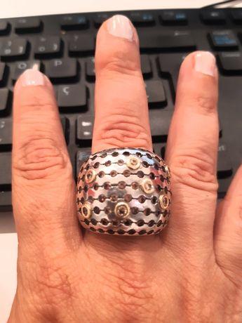 Fabuloso anel em prata ouro e pedras naturais