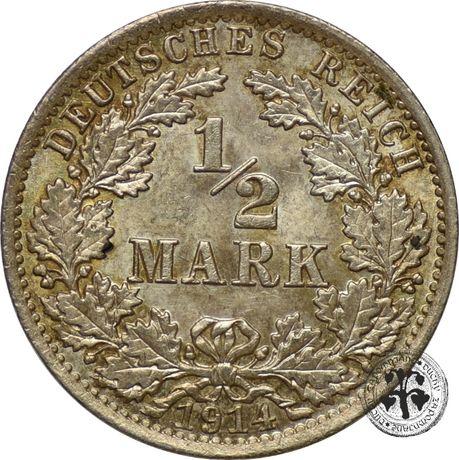 Niemcy 1/2 marki 1914 r. A