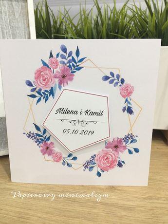 Zaproszenie na ślub + koperta Personalizacja gratis !! Kwiatowe