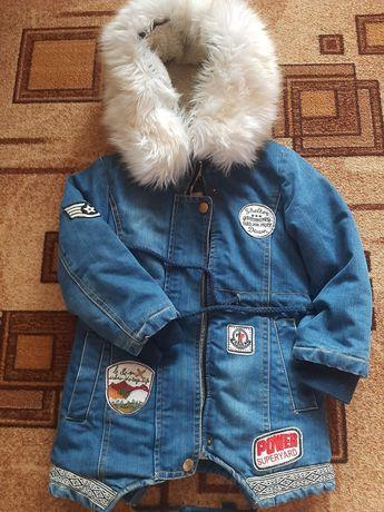Джинсовая куртка парка на меху 3-5 лет