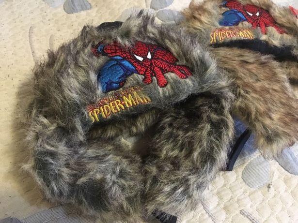 Зимняя меховая шапка ушанка на мальчика на флисе с человеком пауком