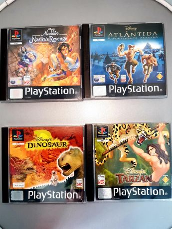 Jogos da Disney PlayStation/PS1: Aladdin, Atlântida, Dinosaur e Tarzan