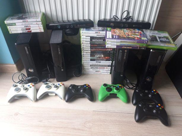 4 × Xbox 360 Slim 250 GB 6 x Pad pady 2 x Kinect 30 gier Mega zestaw