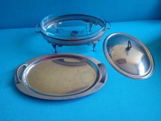 Szkło żaroodporne z podstawkiem na tealight + taca dekoracyjna