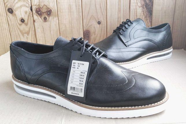 Стильные броги полностью кожаные оксфорды Bianco классические туфли