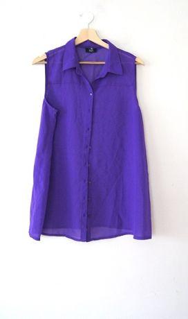 F&F ciemnofioletowa koszula koszulka mgielka bezrekawow 40L 42XL prost