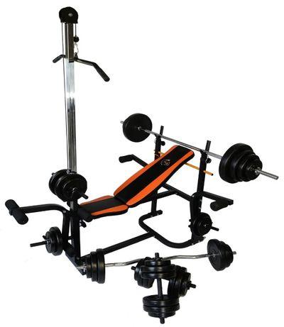 Скамья тренировочная WCG 0070 + тяга, парта Скотта набор штанга 98 кг