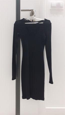 Sukienka czarna Wassyl prążki sekolt sexy paski XS/S